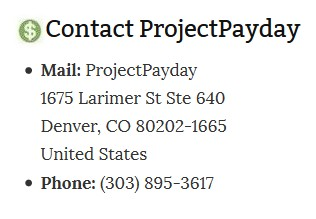 Projectpayday Contact information