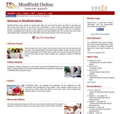 screenshot of MindField's website