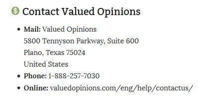 Valued Opinions contact info