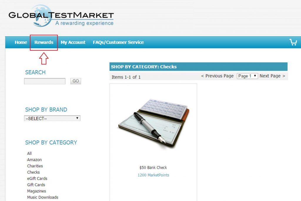 Global Test Market Rewards