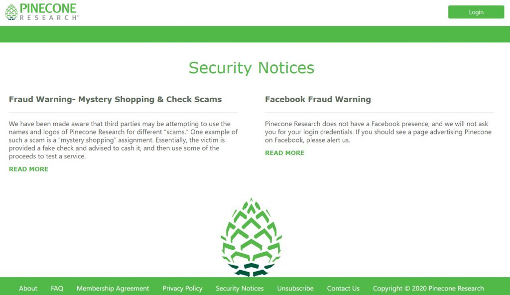 Pinecone Research Scam Alert