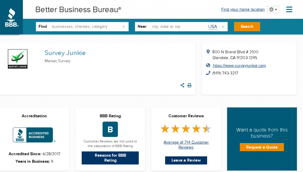 survey junkie review bbb