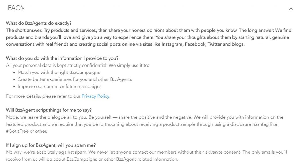 BzzAgent FAQ
